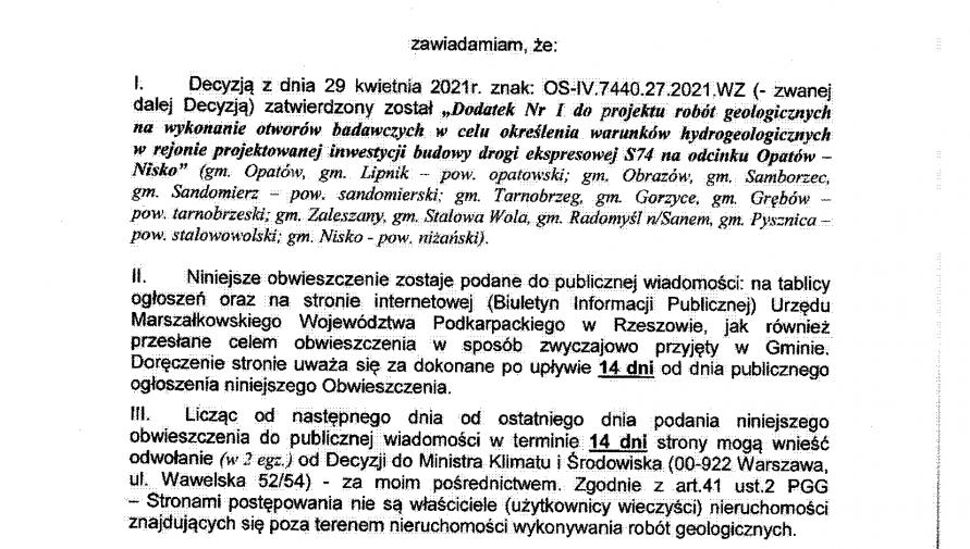 Obwieszczenie Wojewody Podkarpackiego