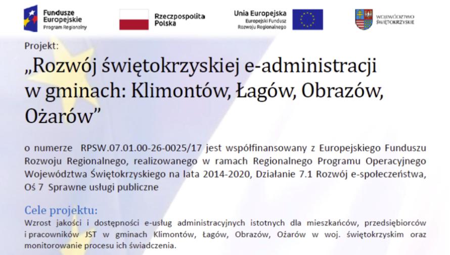 """""""Rozwój świętokrzyskiej e-administracji w gminach: Klimontów, Łagów, Obrazów, Ożarów"""""""